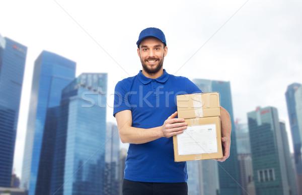 Mutlu kutuları teslim hizmet Stok fotoğraf © dolgachov