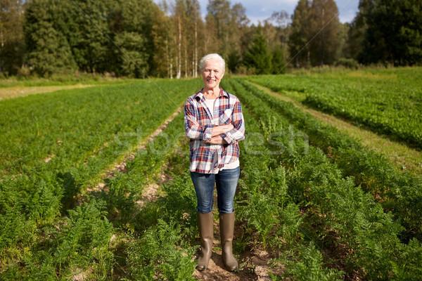 Mutlu kıdemli kadın çiftlik bahçıvanlık Stok fotoğraf © dolgachov