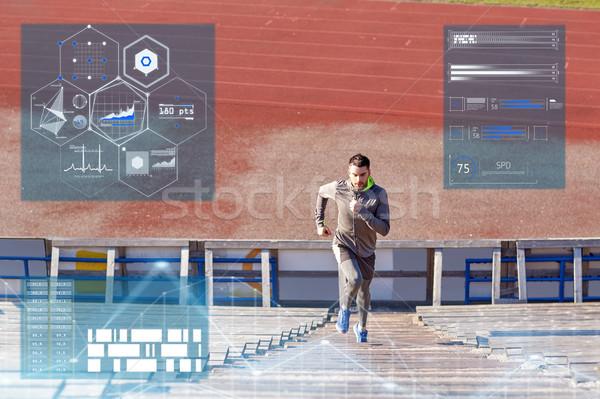 человека работает наверх стадион фитнес спорт Сток-фото © dolgachov