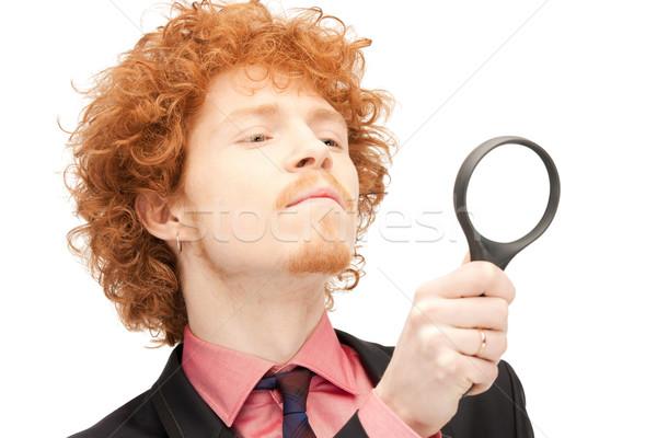 Stock fotó: Férfi · nagyító · kép · jóképű · férfi · üzlet · arc