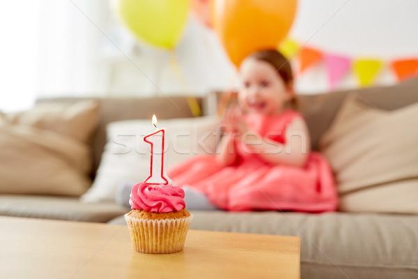 Születésnap minitorta gyermek egy év évforduló Stock fotó © dolgachov