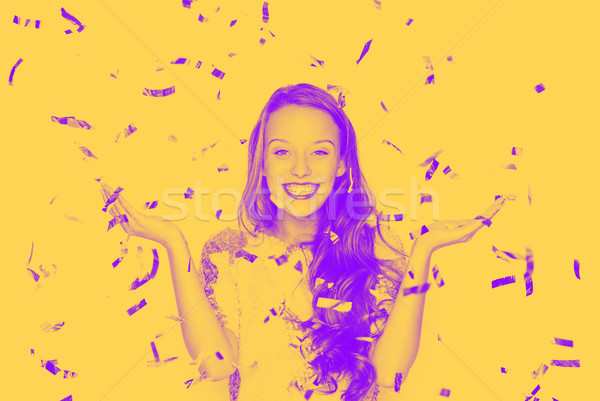 Stock photo: happy young woman or teen girl in fancy dress