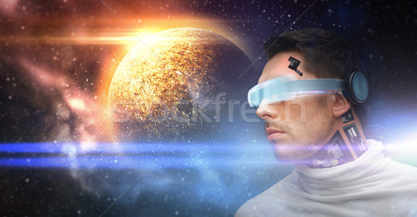 male robot in 3d glasses and sensors over space Stock photo © dolgachov