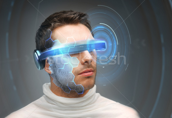 Adam 3d gözlük sanal hologram gelecek teknoloji Stok fotoğraf © dolgachov