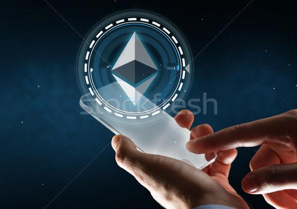 üzletember okostelefon hologram üzlet jövő technológia Stock fotó © dolgachov