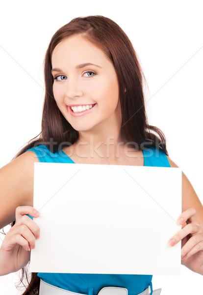 Foto stock: Menina · feliz · conselho · branco · mulher · feliz · jovem