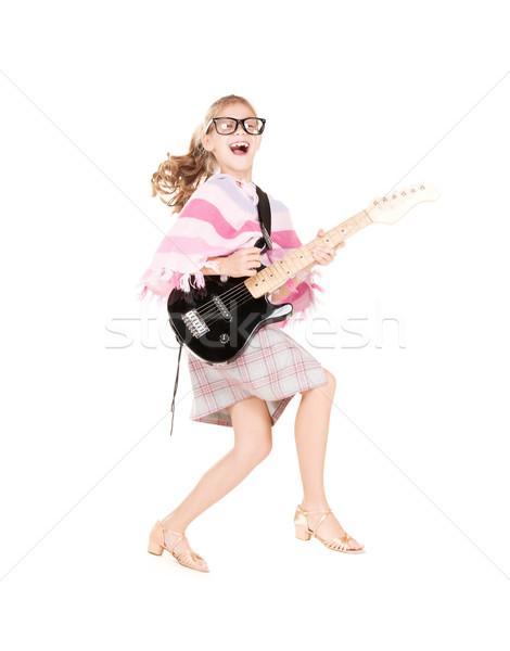 guitar girl Stock photo © dolgachov