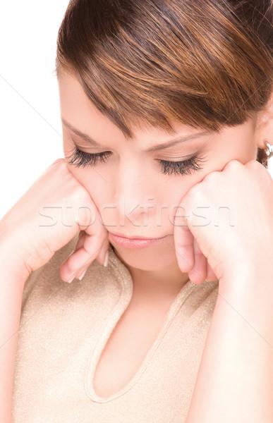 Boldogtalan nő fényes kép fehér szomorú Stock fotó © dolgachov