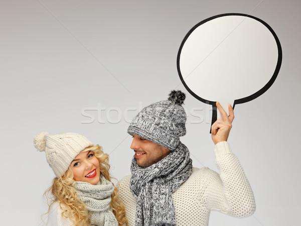 family couple with blank text bubble Stock photo © dolgachov