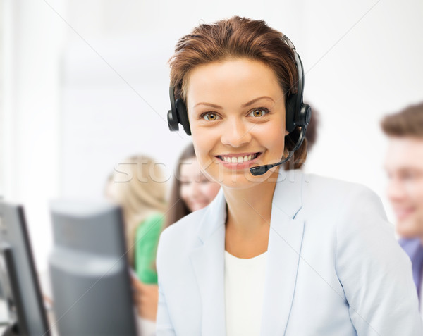 Helpline operatore cuffie call center business call center Foto d'archivio © dolgachov