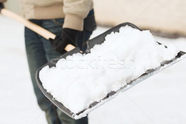 Homem neve entrada da garagem inverno limpeza Foto stock © dolgachov