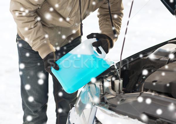 Primer plano hombre coche invierno Foto stock © dolgachov