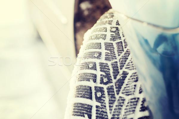 closeup of car winter tire Stock photo © dolgachov