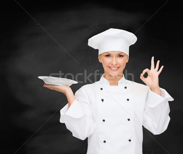 Zdjęcia stock: Kobiet · kucharz · pusty · tablicy