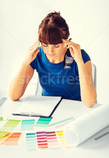 Decorador de interiores diseno interior mujer casa Foto stock © dolgachov