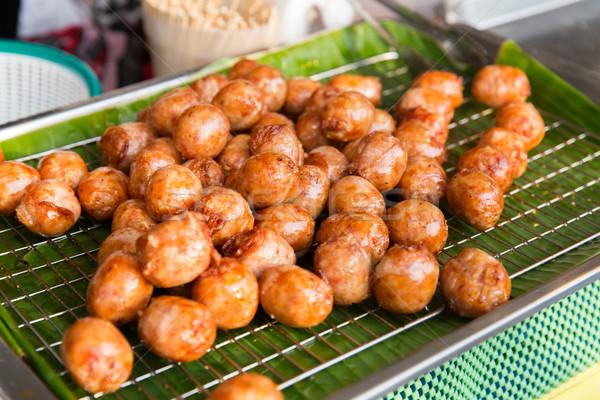 fried meatballs sale at street market Stock photo © dolgachov