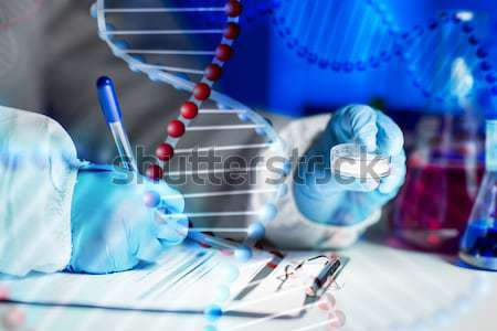 close up of scientist with tube making test in lab Stock photo © dolgachov
