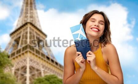 счастливым женщину купальник победу рукой знак Сток-фото © dolgachov