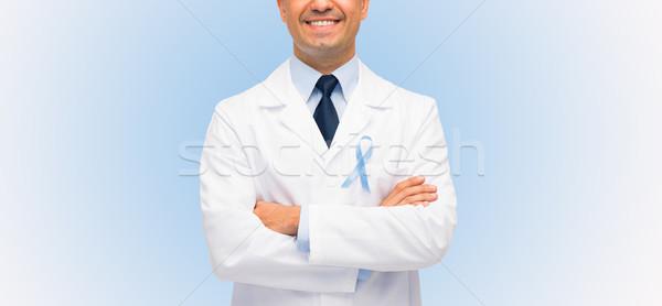 Foto stock: Feliz · médico · próstata · câncer · consciência · fita