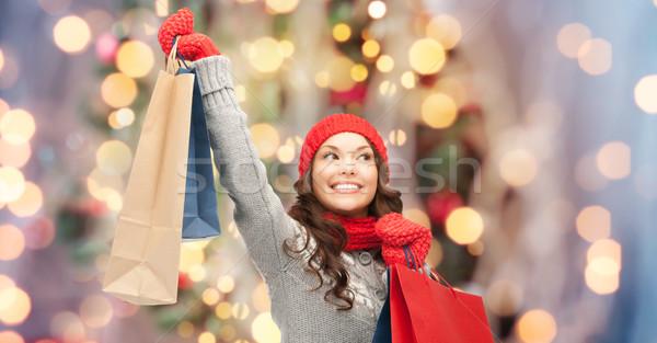 Gelukkig vrouw winter kleding vakantie Stockfoto © dolgachov