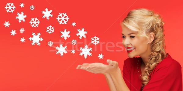 Nő küldés hópelyhek pálmafák kezek emberek Stock fotó © dolgachov