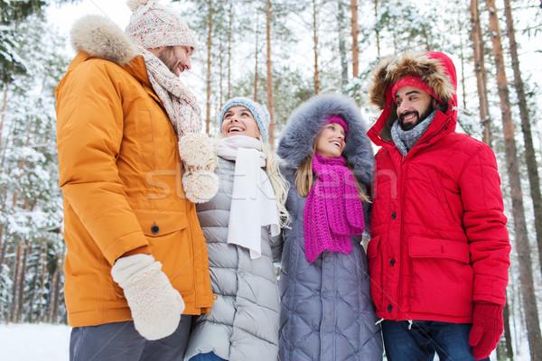 группа улыбаясь мужчин женщины зима лес Сток-фото © dolgachov