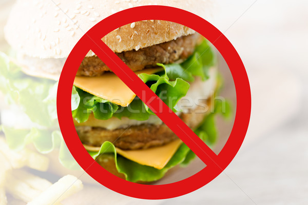 close up of hamburger behind no symbol Stock photo © dolgachov