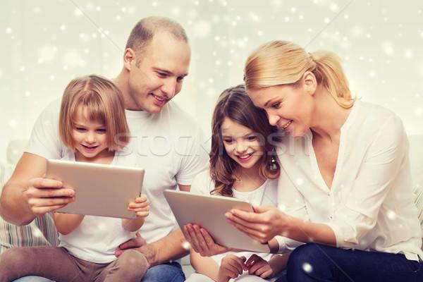 happy family with tablet pc computers Stock photo © dolgachov
