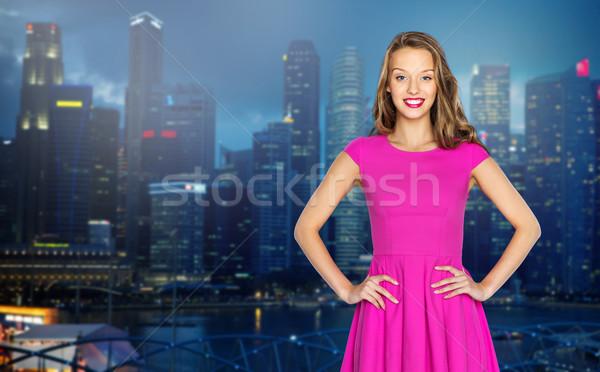 Mutlu genç kadın genç kız gece şehir insanlar Stok fotoğraf © dolgachov