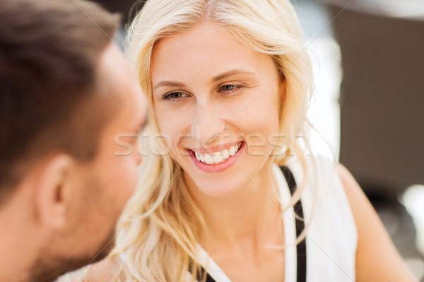 счастливым пару лицах ресторан любви люди Сток-фото © dolgachov