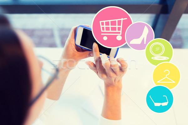 Vrouw smartphone kantoor zakenlieden technologie Stockfoto © dolgachov