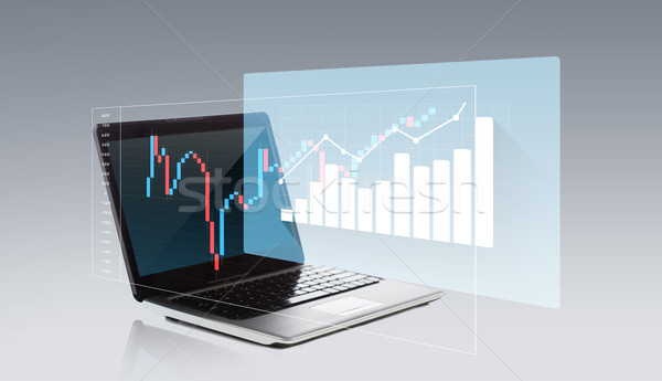 laptop computer with chart on screen Stock photo © dolgachov