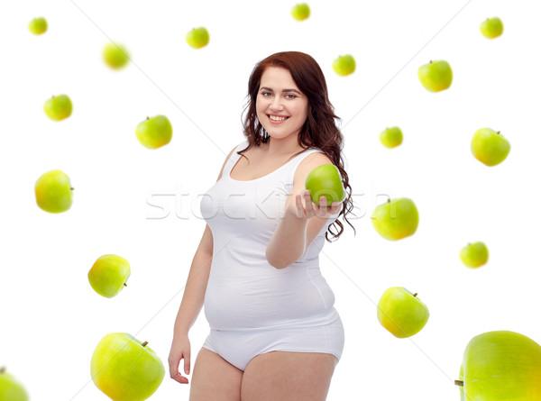 Gelukkig plus size vrouw ondergoed appel Stockfoto © dolgachov