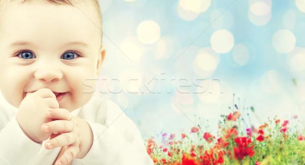 beautiful happy baby over poppy field background Stock photo © dolgachov