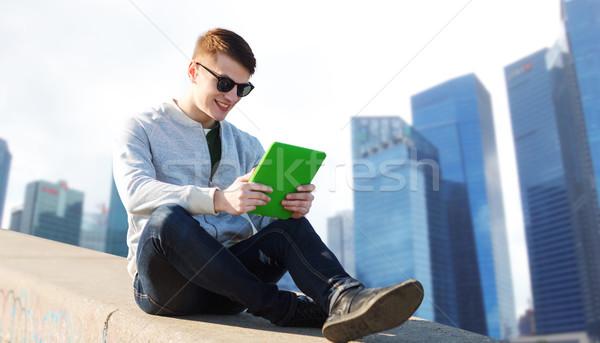 Gelukkig jonge man stad technologie reizen Stockfoto © dolgachov