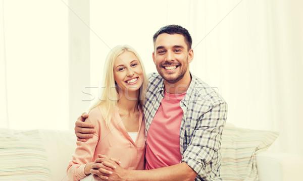 Photo stock: Souriant · heureux · couple · maison · amour · famille