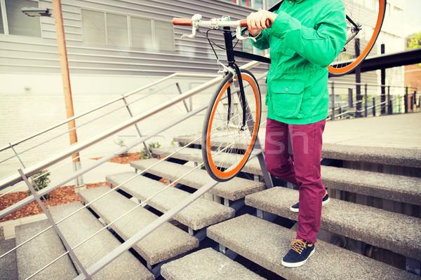 человека зафиксировано Gear велосипедов люди стиль Сток-фото © dolgachov