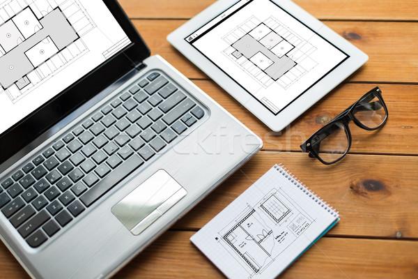 Laptop caderno arquitetura negócio Foto stock © dolgachov