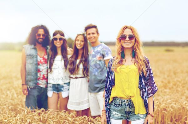 улыбаясь молодые хиппи друзей зерновых области Сток-фото © dolgachov