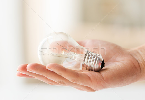 Mão lâmpada lâmpada reciclagem Foto stock © dolgachov
