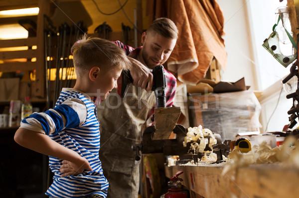 отцом сына дрель рабочих семинар семьи плотничные работы Сток-фото © dolgachov