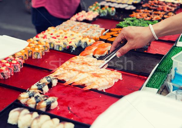手 トング 寿司 料理 ストックフォト © dolgachov