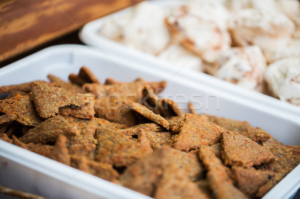 close up of cookies or cracker on serving tray Stock photo © dolgachov