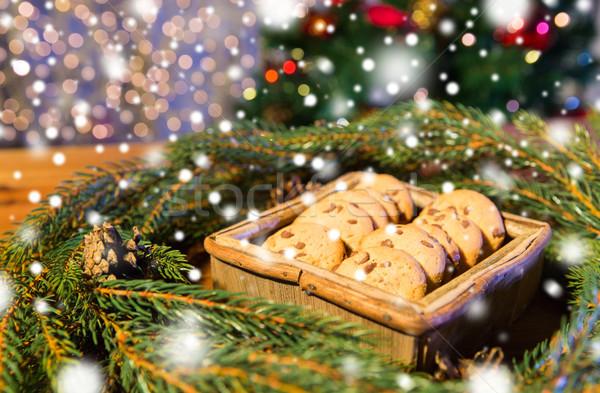 Természetes zöld fenyő karácsony koszorú zab Stock fotó © dolgachov