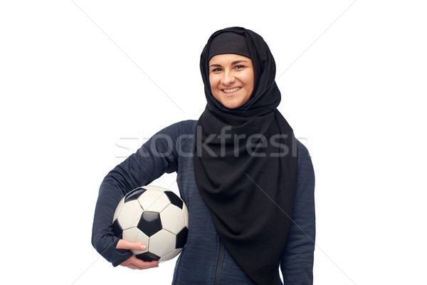 Boldog muszlim nő hidzsáb futball sport Stock fotó © dolgachov