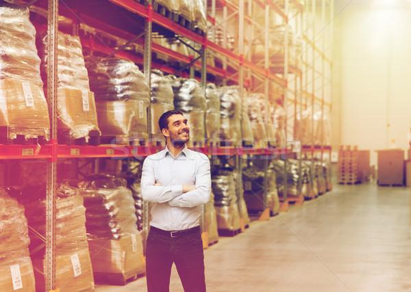 Gelukkig man magazijn groothandel business exporteren Stockfoto © dolgachov