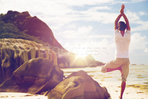 Stockfoto: Man · mediteren · yoga · boom · pose · strand