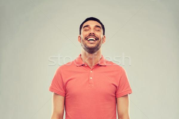 Lachen Mann grau Emotion Menschen tshirt Stock foto © dolgachov