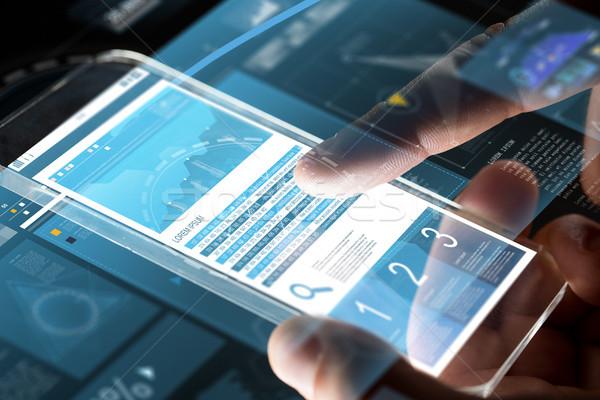 Mani classifiche smartphone business statistiche Foto d'archivio © dolgachov