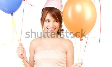 happy woman in bikini swimsuit with air balloons Stock photo © dolgachov